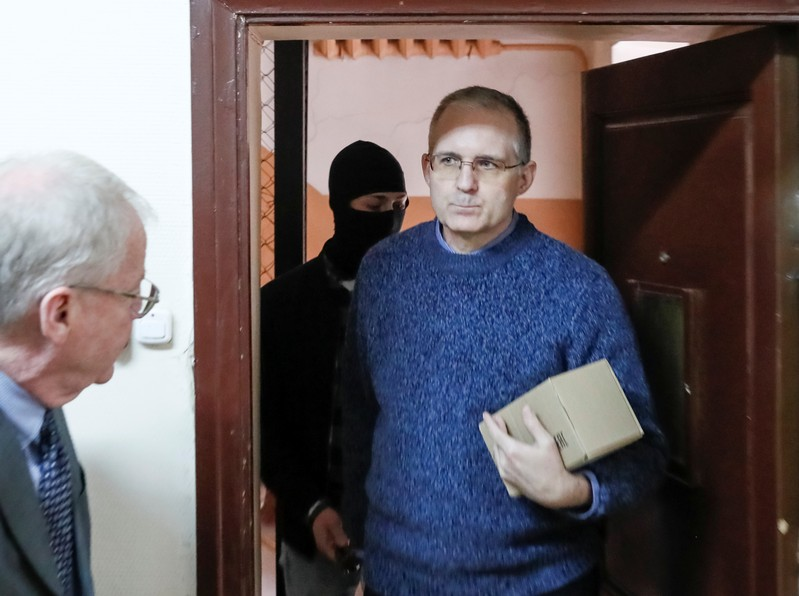 Detained former U.S. Marine Whelan attends a court hearing in Moscow