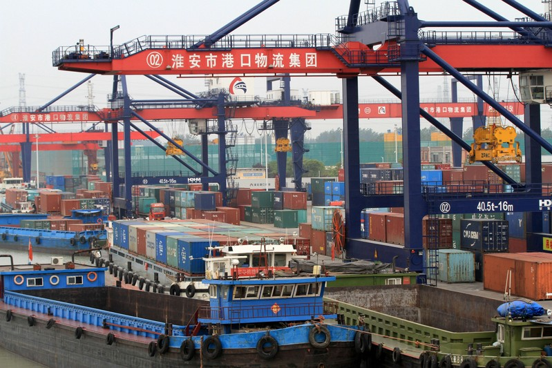 Containers are seen at a port in Huaian