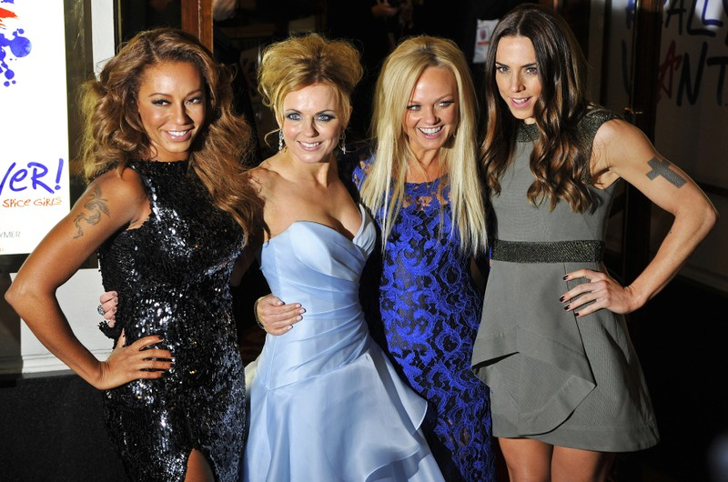 File photograph shows Spice Girls members arriving for the premiere of the musical