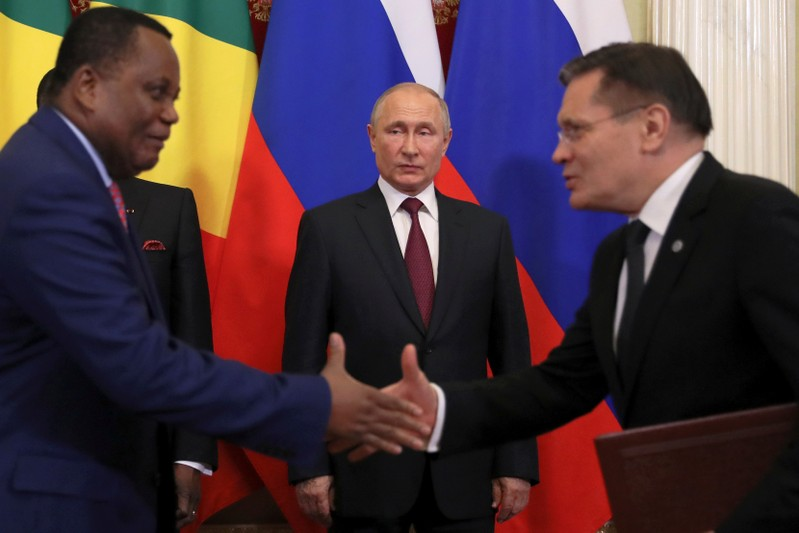 FILE PHOTO: Russia's President Vladimir Putin attends a signing ceremony following the talks with President of Congo Republic Denis Sassou Nguesso in Moscow