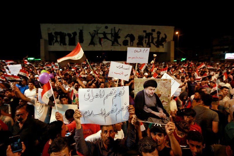 Supporters of Iraqi Shi'ite cleric Moqtada al-Sadr gather during a protest calling for neutrality during the ongoing tensions between neighbouring Iran and the USA, in Baghdad