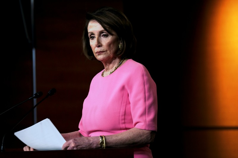 FILE PHOTO - U.S. House Speaker Nancy Pelosi (D-CA) holds her weekly news conference with Capitol Hill reporters in Washington