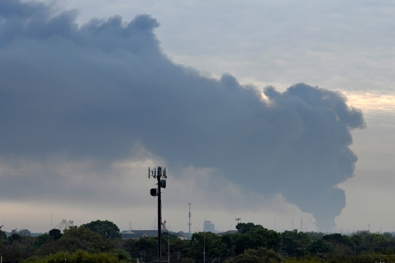FILE PHOTO: Smoke rises from a fire burning at the Intercontinental Terminals Company in Deer Park, east of Houston