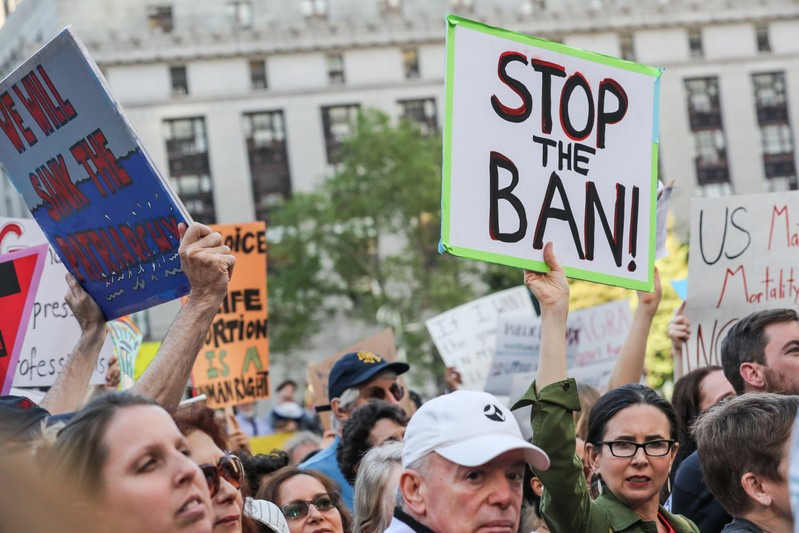 FILE PHOTO: Abortion-rights campaigners attend a rally in New York