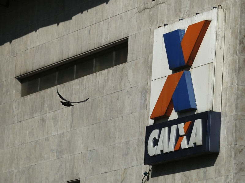 A view shows the company logo of Caixa Economica Federal bank in downtown Rio de Janeiro