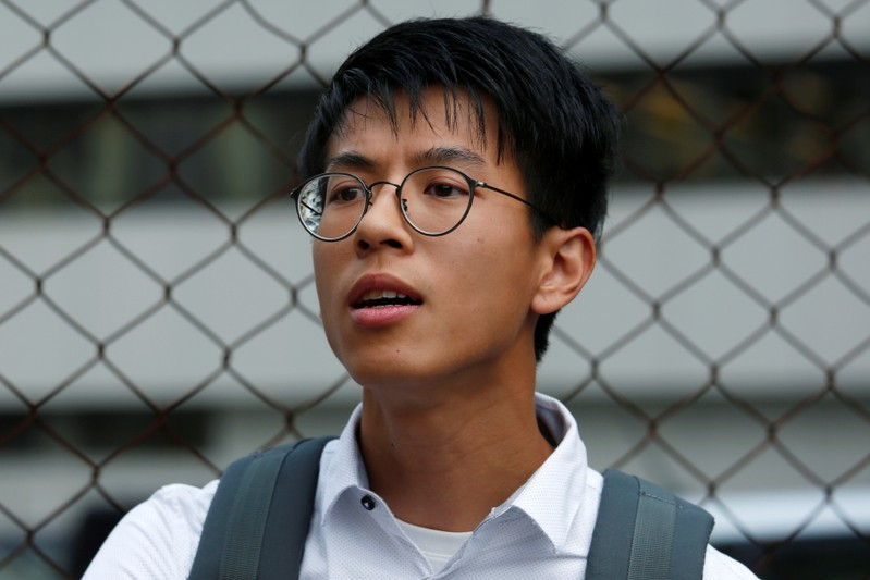 A leader of localist group Hong Kong Indigenous Ray Wong leaves a court in Hong Kong