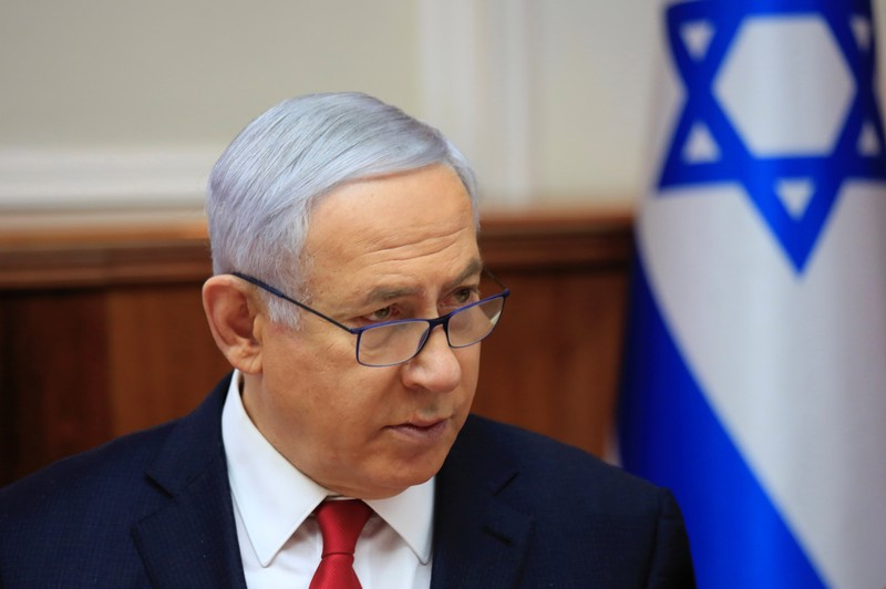 FILE PHOTO: Israeli Prime Minister Benjamin Netanyahu speaks during the weekly cabinet meeting at the Prime Minister's office in Jerusalem
