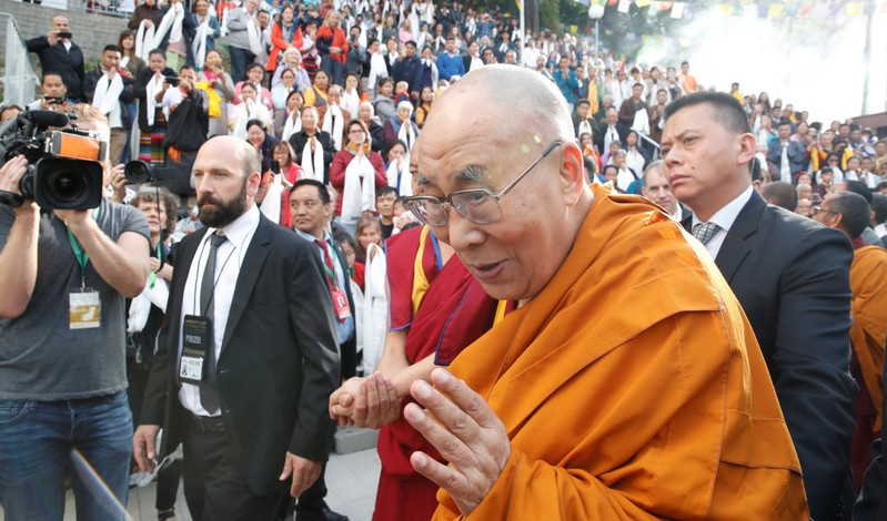 Tibetan spiritual leader the Dalai Lama arrives for his visit to the Tibet Institute Rikon in Rikon