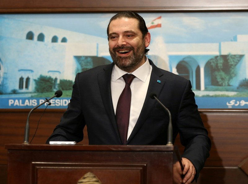 FILE PHOTO: Lebanon's Prime Minister Saad al-Hariri reacts after the announcement of the new government at the presidential palace in Baabda