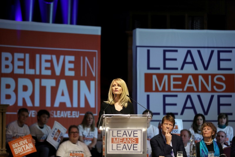 Britain's former Secretary of State for Work and Pensions Esther McVey speaks during a