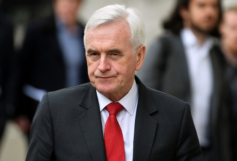Britain's Shadow Chancellor of the Exchequer John McDonnell arrives at Cabinet Office in London