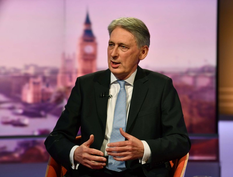 Philip Hammond MP, Chancellor of the Exchequer appears on BBC TV's The Andrew Marr Show in London