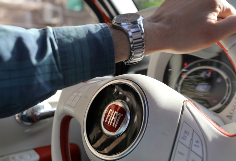 FILE PHOTO: The logo of FIAT carmaker is seen on a steering wheel in Cairo