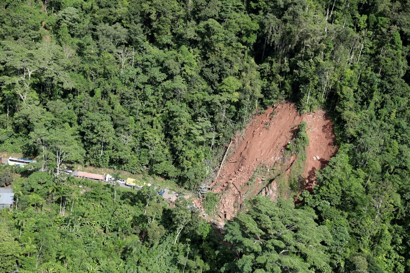 An aerial view shows a landslide caused by a quake in Yurimaguas
