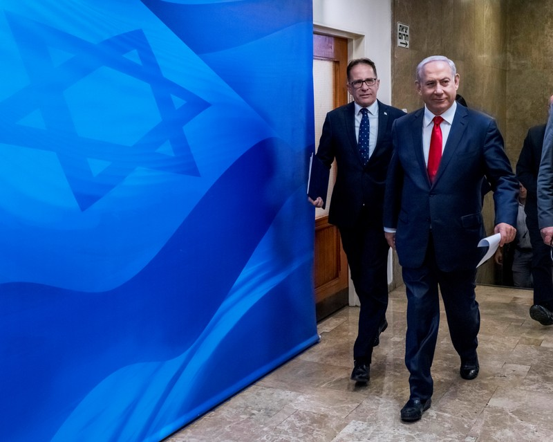 Israeli Prime Minister Benjamin Netanyahu arrives to chair the weekly cabinet meeting in Jerusalem