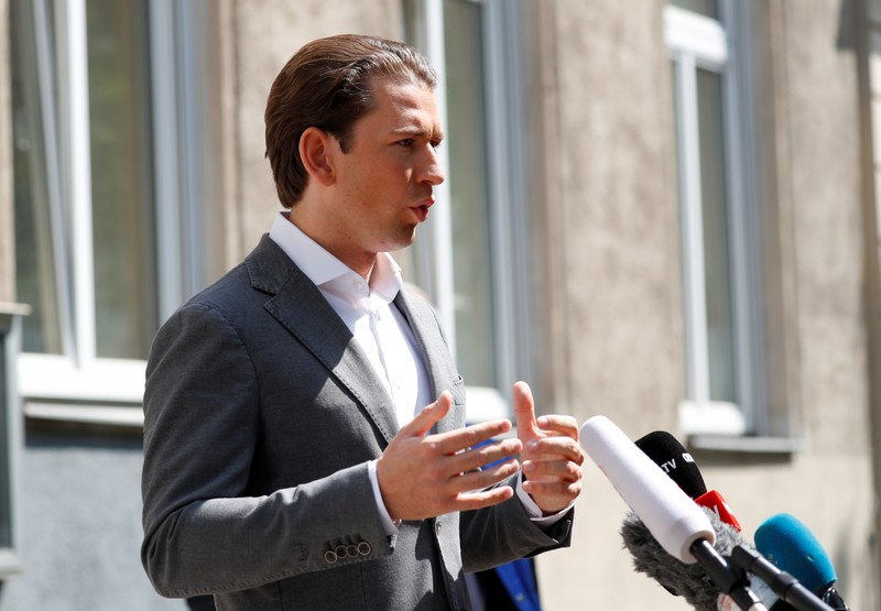 Austrian Chancellor Sebastian Kurz talks to the media after casting his vote during European Parliament Elections in Vienna