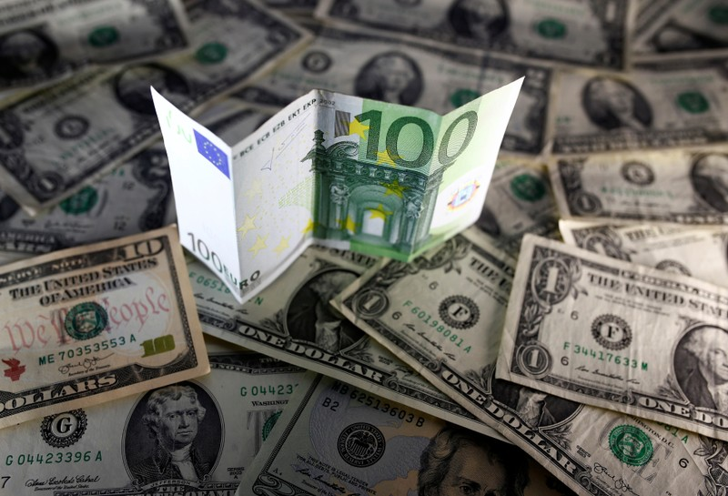 FILE PHOTO: U.S. dollar and Euro notes are seen in this picture illustration