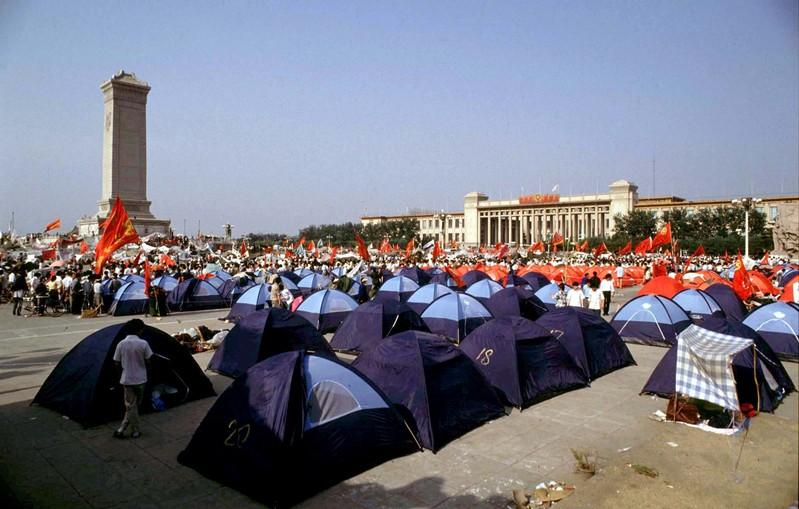 FILE PHOTO: Pro-democracy demonstrators pitch tents in Beijing's Tiananmen Square