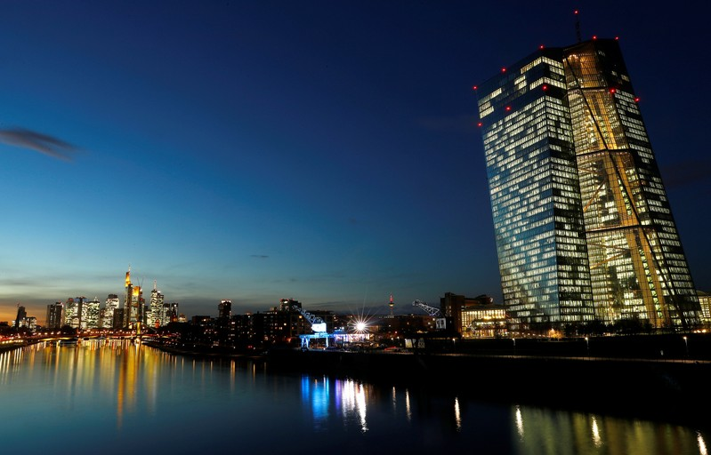 FILE PHOTO: The skyline with its financial district and the headquarters of the European Central Bank (ECB) are photographed in the early evening in Frankfurt