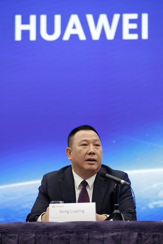 Huawei's Chief Legal Officer Song Liuping attends a news conference on Huawei's ongoing legal action against the U.S. government's National Defense Authorization Act (NDAA) action at its headquarters in Shenzhen