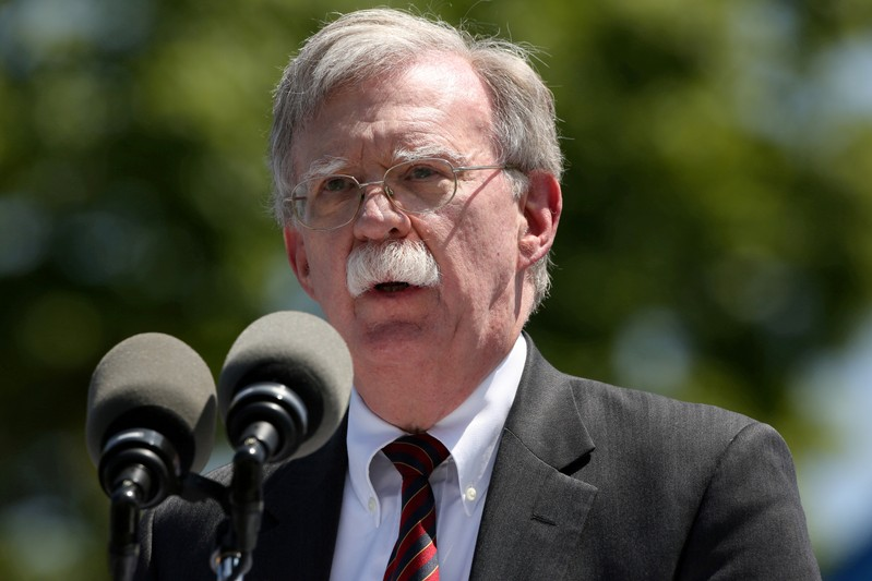 FILE PHOTO: U.S. National Security Advisor John Bolton speaks during a graduation ceremony at the U.S. Coast Guard Academy in New London