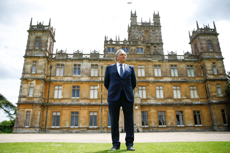 British actor Jim Carter poses during an interview with Reuters at Highclere Castle in Hampshire