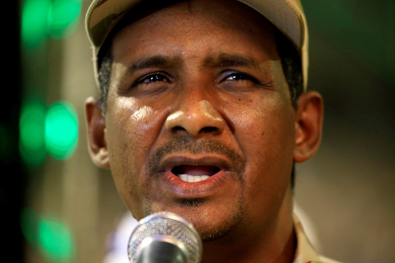 FILE PHOTO: General Mohamed Hamdan Dagalo, head of the Rapid Support Forces (RSF) and deputy head of the Transitional Military Council (TMC) delivers an address after the Ramadan prayers and Iftar organized by Sultan of Darfur Ahmed Hussain in Khartoum