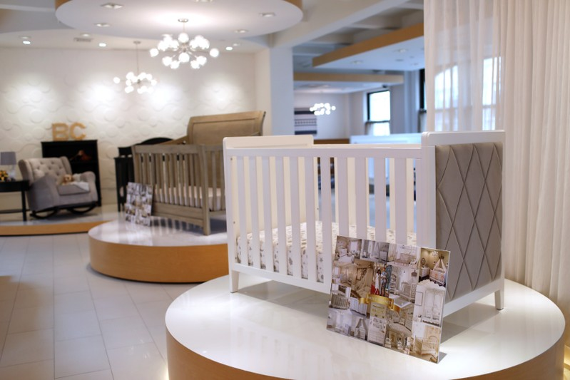 Children's furniture is seen displayed in a showroom at New York-based Delta Children in New York