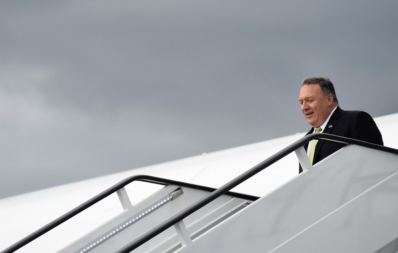 U.S. Secretary of State Mike Pompeo arrives at Stansted Airport near London