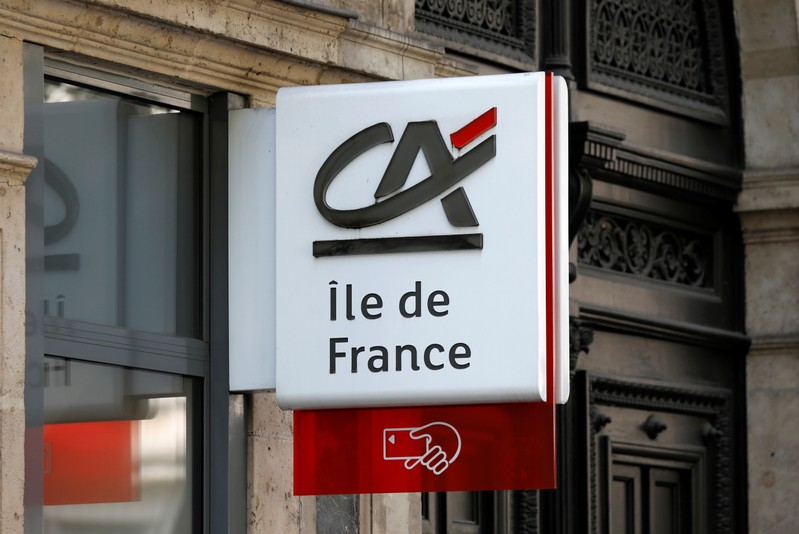 A logo is pictured on a Credit Agricole bank branch in Paris