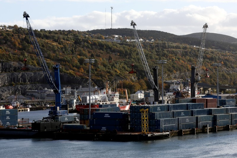 Shipping containers are picture in St John's