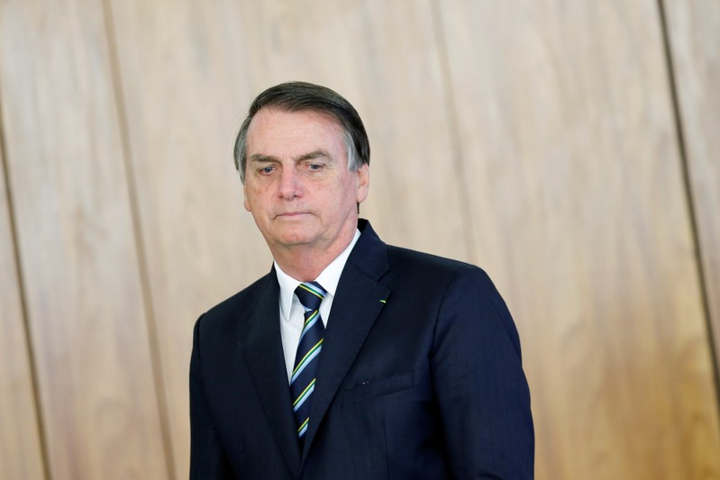 Brazil's President Jair Bolsonaro attends a credentials presentation ceremony for several new top diplomats at Planalto Palace in Brasilia