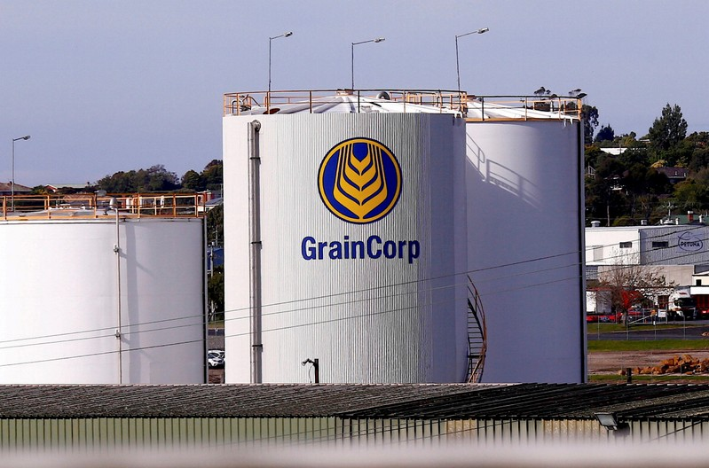 FILE PHOTO: A silo bearing the logo of GrainCorp Ltd is seen in the Tasmanian town of Devonport