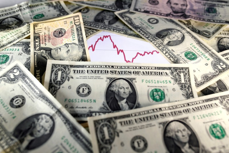 FILE PHOTO: U.S. dollar notes are seen in front of a stock graph in this picture illustration