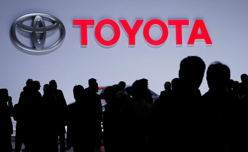FILE PHOTO: A Toyota logo is displayed at the 89th Geneva International Motor Show in Geneva