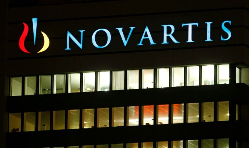 FILE PHOTO: The logo of Swiss drugmaker Novartis is seen at its headquarters in Basel