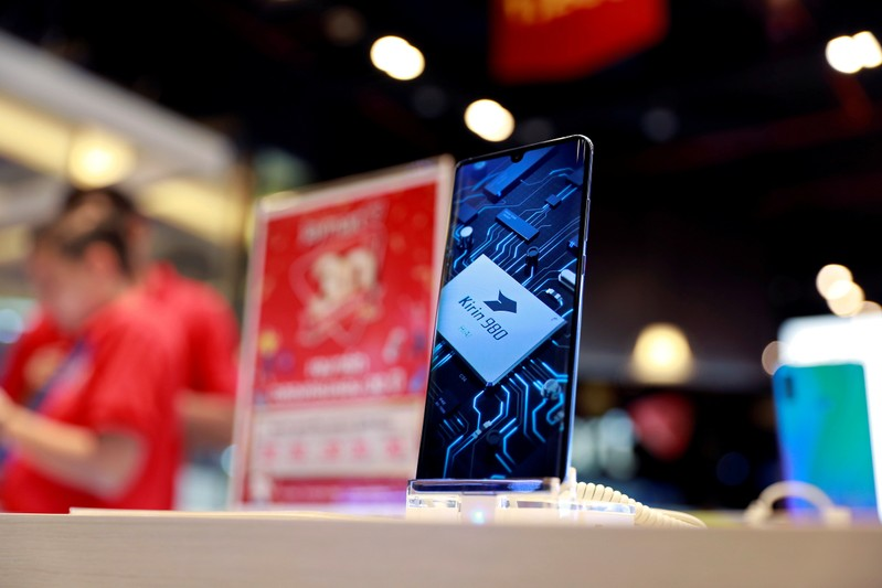 FILE PHOTO: Huawei P30 handset is displayed in a phone shop at a shopping centre in Bangkok