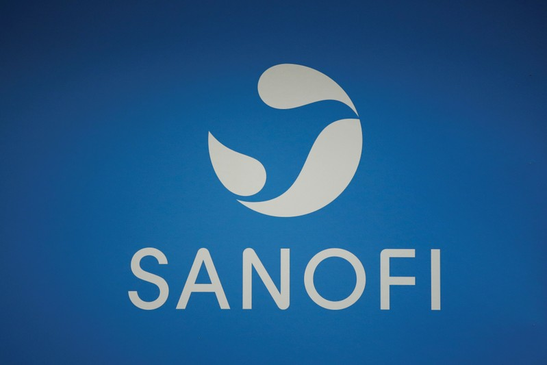 A logo of Sanofi is pictured during the company's shareholders meeting in Paris