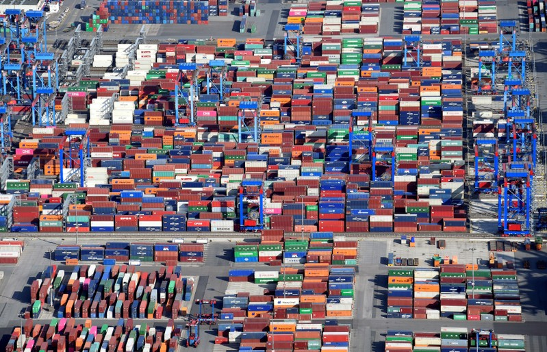 FILE PHOTO: Aerial view of containers at a loading terminal in the port of Hamburg