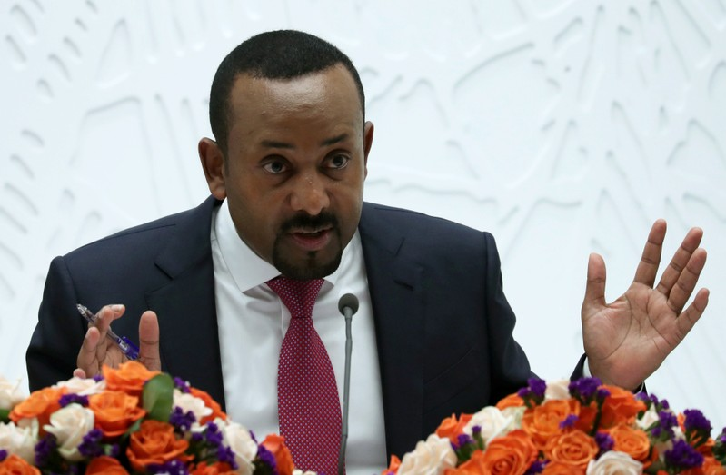 Ethiopia's Prime Minister Abiy Ahmed speaks at a news conference in Addis Ababa