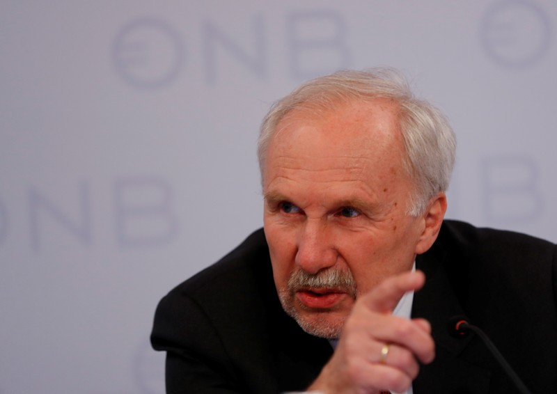 ECB Governing Council member Nowotny addresses a news conference in Vienna