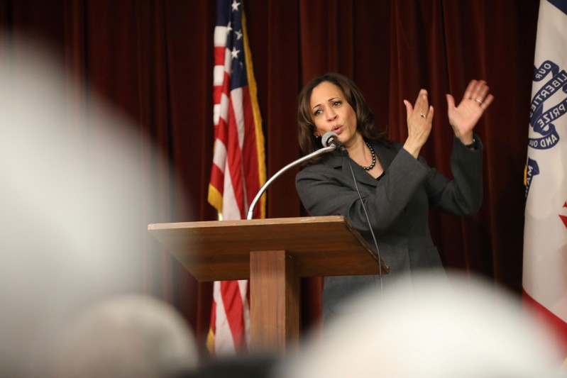 FILE PHOTO: U.S. 2020 Democratic presidential candidate Kamala Harris speaks during the Story County Democrats' annual soup supper fundraiser at the Collegiate United Methodist Church in Ames, Iowa