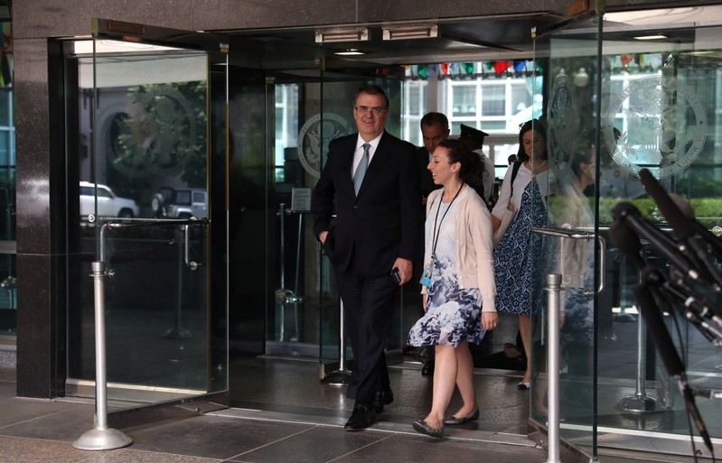 Mexico's Foreign Minister Ebrard speaks to reporters after U.S.-Mexico talks at State Department in Washington