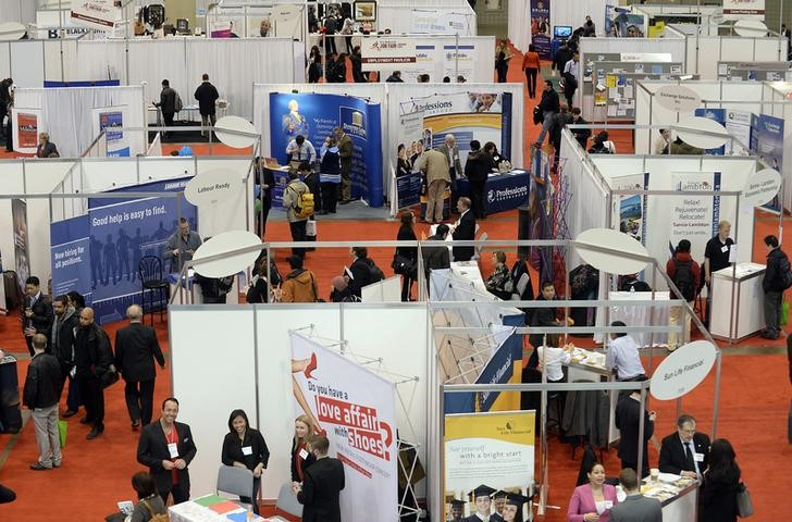 Overhead view of 2014 Spring National Job Fair and Training Expo in Toronto