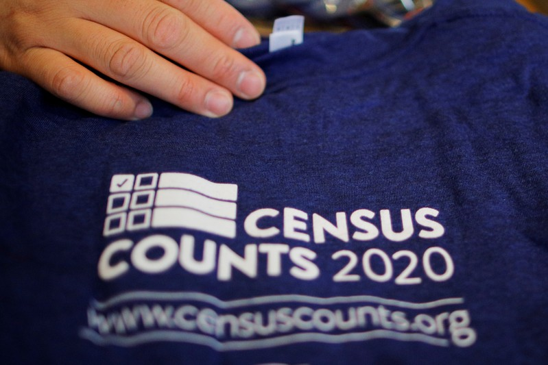 FILE PHOTO: T-shirts are displayed at a community activists and local government leaders event to mark the one-year-out launch of the 2020 Census efforts in Boston