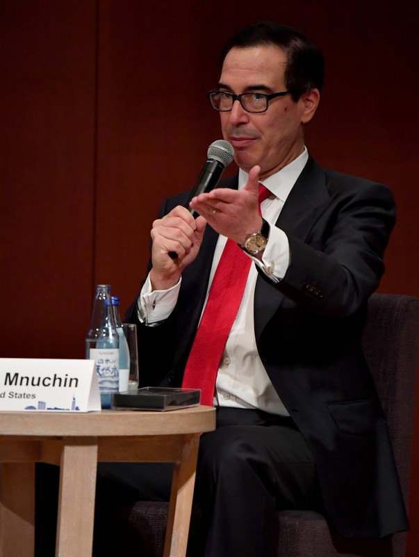 US Secretary of Treasury Steven Mnuchin delivers a speech during the G20 Ministerial Symposium on International Taxation in the G20 Finance Ministers and Central Bank Governors meeting in Fukuoka