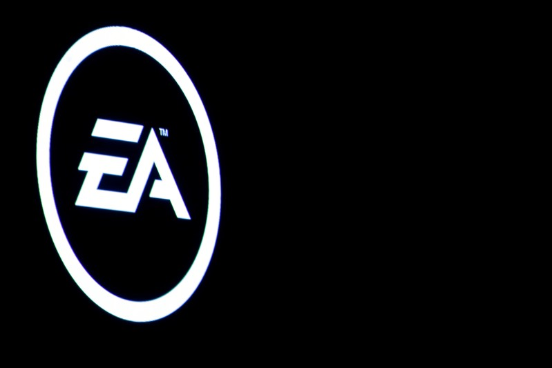 FILE PHOTO: The Electronic Arts Inc., logo is displayed on a screen during a PlayStation 4 Pro launch event in New York