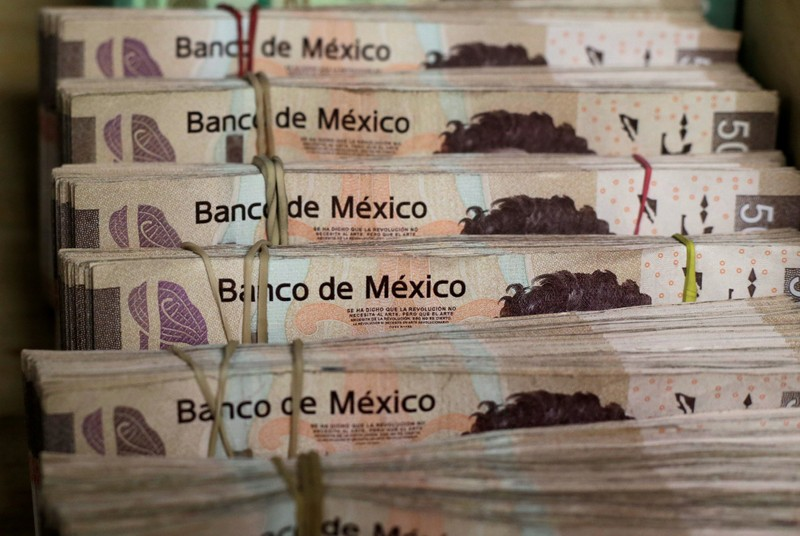 FILE PHOTO: Bundles of Mexican Peso banknotes are pictured at a currency exchange shop in Ciudad Juarez
