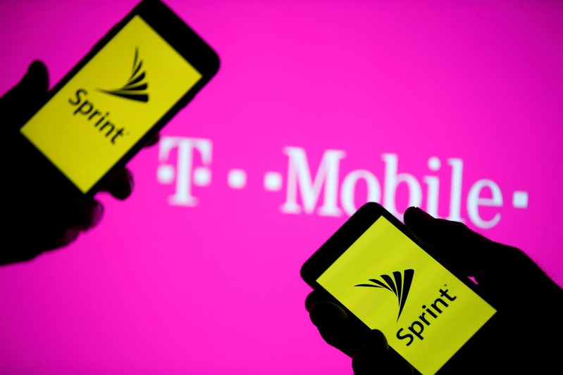 This illustration shows a smartphone with Sprint logo in front of a screen projection of the T-mobile logo.