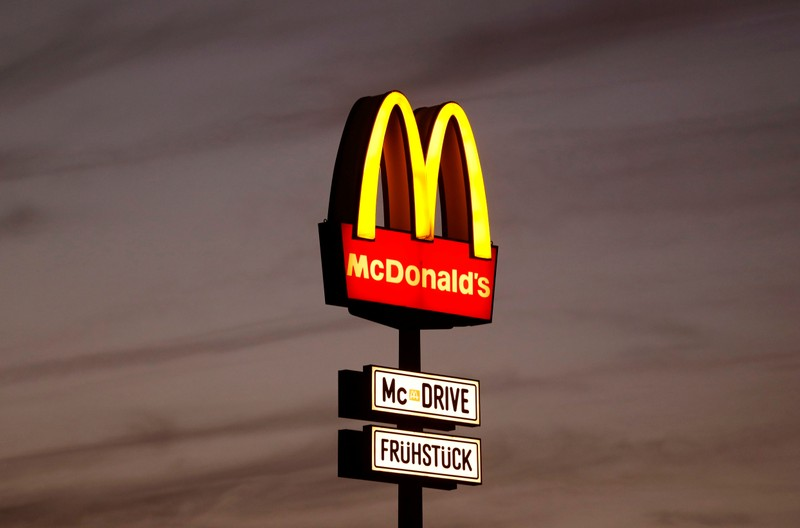 FILE PHOTO - A huge advertisement for a branch of fastfood giant McDonald's is seen on the outskirts of Berlin